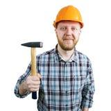 Γενειοφόρο άτομο σε ένα κράνος με το σφυρί Στοκ φωτογραφία με δικαίωμα ελεύθερης χρήσης