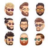 Γενειοφόρο άτομο hipster κινούμενων σχεδίων και αρσενικό διανυσματικό σύνολο hairstyle απεικόνιση αποθεμάτων