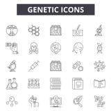 Γενετικά εικονίδια γραμμών για τον Ιστό και το κινητό σχέδιο Σημάδια κτυπήματος Editable Γενετικές απεικονίσεις έννοιας περιλήψεω απεικόνιση αποθεμάτων