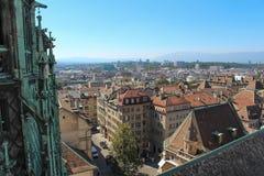 Γενεύη, άποψη της πόλης από ένα ύψος Στοκ Φωτογραφία