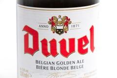 Γενεύη/Ελβετία -17 07 18: Βελγική μπύρα του Βελγίου μπύρας Duvel Στοκ εικόνες με δικαίωμα ελεύθερης χρήσης