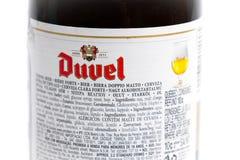 Γενεύη/Ελβετία -17 07 18: Βελγική μπύρα του Βελγίου μπύρας Duvel Στοκ Εικόνες