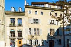 Γενεύη, Ελβετία - 18 Οκτωβρίου 2017: Εκλεκτής ποιότητας σπίτια του ol Στοκ Εικόνες