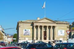 Γενεύη, Ελβετία - 18 Οκτωβρίου 2017: Θέση Neuve με την τέχνη mus Στοκ εικόνα με δικαίωμα ελεύθερης χρήσης