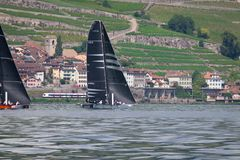 Γενεύη Ελβετία - 10 06 2018: Bol Δ ` ή πλέοντας βάρκα της Γενεύης λιμνών Regatta Ελβετία D35 M1 που συναγωνίζεται Django Στοκ Φωτογραφίες