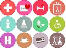 Γενικά επίπεδα ιατρικά εικονίδια υγείας για το νοσοκομείο Στοκ Εικόνες