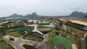 Γενική άποψη άνωθεν στο πάρκο Aqua του Ramayana Ταϊλάνδη απόθεμα βίντεο