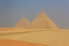 Γενική άποψη των πυραμίδων Giza στο Κάιρο Αίγυπτος Στοκ Φωτογραφία