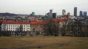 Γενική άποψη Vilnius της πόλης Βίντεο χρονικού σφάλματος φιλμ μικρού μήκους