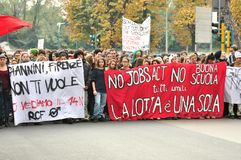 Γενική απεργία που προκαλείται από την πράξη εργασιών στην Ιταλία Στοκ φωτογραφία με δικαίωμα ελεύθερης χρήσης