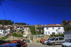 Γενική αρχιτεκτονική της πόλης της Οχρίδας σε FYR Μακεδονία Στοκ Εικόνες