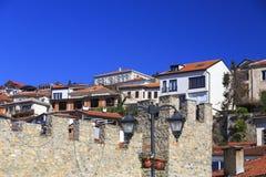 Γενική αρχιτεκτονική της πόλης της Οχρίδας σε FYR Μακεδονία Στοκ Φωτογραφία