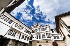 Γενική αρχιτεκτονική του παραδοσιακού σπιτιού Urania στην παλαιά πόλη της Οχρίδας στη Μακεδονία Στοκ Εικόνα