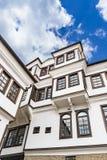 Γενική αρχιτεκτονική του παραδοσιακού σπιτιού Urania στη Οχρίδα Στοκ Φωτογραφία