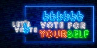 Γενική εκλογή της Ινδίας ψηφοφορίας με το χέρι δάχτυλων Σημάδι νύχτας ψηφοφορίας 2019 της Ινδίας στο ύφος νέου Σημάδι νέου, ένα σ ελεύθερη απεικόνιση δικαιώματος