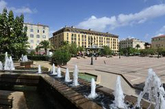 Γενική πλατεία του De Gaulle στο Ajaccio Στοκ Εικόνες