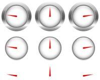Γενικοί μετρητές, πίνακες με το κόκκινο χέρι ρολογιών, δείκτης Στοκ εικόνα με δικαίωμα ελεύθερης χρήσης