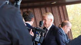 Γενικός Γραμματέας Jagland Thorbjorn του Συμβουλίου της Ευρώπης κατά τη διάρκεια της επίσημης επίσκεψης στο Στρασβούργο, Γαλλία απόθεμα βίντεο