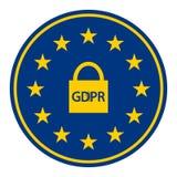 Γενικός κανονισμός προστασίας δεδομένων GDPR και σε απευθείας σύνδεση ασφάλεια Λουκέτο και προσωπικοί απολογισμοί στον κύκλο της  Στοκ φωτογραφία με δικαίωμα ελεύθερης χρήσης