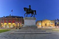 Γενικό άγαλμα της Dufour, μεγάλα όπερα και μουσείο Rath στη θέση Neuve, Γενεύη, Ελβετία Στοκ φωτογραφίες με δικαίωμα ελεύθερης χρήσης