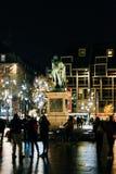 Γενικό άγαλμα Kleber τη νύχτα στο Στρασβούργο, Γαλλία Στοκ εικόνες με δικαίωμα ελεύθερης χρήσης