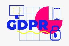 Γενικό αφηρημένο γεωμετρικό σχέδιο κανονισμού προστασίας δεδομένων Στοκ Εικόνα