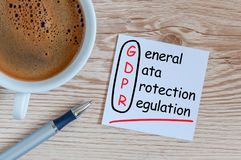 Γενικό κανονισμός προστασίας δεδομένων ή GDPR - σημειώστε στο ξύλινο γραφείο με το φλυτζάνι καφέ πρωινού στοκ εικόνα