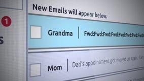 Γενικό νέο Inbox μήνυμα ηλεκτρονικού ταχυδρομείου - ενόχληση Grandma που διαβιβάζει το ηλεκτρονικό ταχυδρομείο ελεύθερη απεικόνιση δικαιώματος