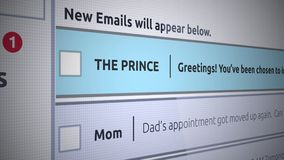 Γενικό νέο Inbox μήνυμα ηλεκτρονικού ταχυδρομείου - σε απευθείας σύνδεση απάτη πριγκήπων ελεύθερη απεικόνιση δικαιώματος
