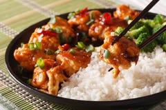 Γενικό Tso κοτόπουλο με το ρύζι για το γεύμα Οριζόντια κινηματογράφηση σε πρώτο πλάνο Στοκ φωτογραφία με δικαίωμα ελεύθερης χρήσης