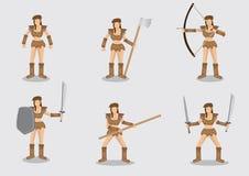 Γενναίο θηλυκό σύνολο σχεδίου χαρακτήρα πολεμιστών διανυσματικό Στοκ Εικόνες