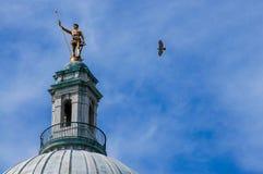Γεράκι που πετά από το ανεξάρτητο άτομο, πρόνοια, RI στοκ φωτογραφίες με δικαίωμα ελεύθερης χρήσης