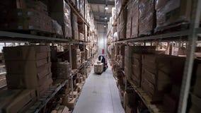 Γερανοί καμερών επάνω στα ράφια των κουτιών από χαρτόνι απόθεμα βίντεο