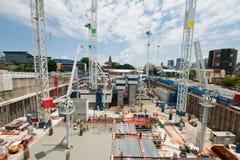 γερανοί κατασκευής νωρί&s Στοκ Φωτογραφία