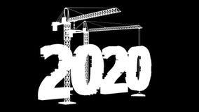Γερανοί πύργων που χτίζουν το 2020 απεικόνιση αποθεμάτων