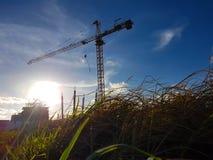 Γερανοί στην περιοχή κατασκευής που λειτουργούν στο φωτεινό υπόβαθρο ουρανού στοκ εικόνα με δικαίωμα ελεύθερης χρήσης
