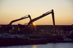 Γερανοί στο λιμάνι Portrush στοκ φωτογραφία με δικαίωμα ελεύθερης χρήσης