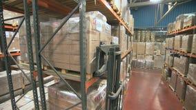 Γερανός που πυροβολείται forklift που λειτουργεί σε μια μεγάλη αποθήκη εμπορευμάτων