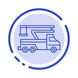 Γερανός, φορτηγό, ανελκυστήρας, ανύψωση, μπλε εικονίδιο γραμμών διαστιγμένων γραμμών μεταφορών διανυσματική απεικόνιση