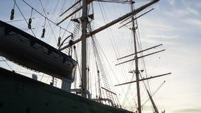 Γερμανία Αμβούργο Το Rickmer Rickmers Είναι ένα πλέοντας σκάφος τρία η βάρκα που δένεται μόνιμα ως μουσείο φιλμ μικρού μήκους