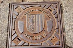 Γερμανία Δρέσδη Κάλυψη καταπακτών στην οδό 16 Ιουνίου 2016 Στοκ Εικόνες