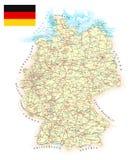 Γερμανία - λεπτομερής χάρτης - απεικόνιση Στοκ Εικόνα