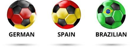 Γερμανικά, Ισπανία, βραζιλιάνα κάρτα με τις σφαίρες ποδοσφαίρου ελεύθερη απεικόνιση δικαιώματος