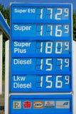 Γερμανικές τιμές βενζίνης Στοκ Εικόνα