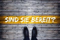 Γερμανική επιχειρησιακή έννοια - μετάφραση: Είστε έτοιμοι; Στοκ Εικόνες