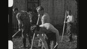 Γερμανική κηπουρική στρατιωτών απόθεμα βίντεο