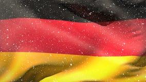 Γερμανική σημαία που κυματίζει στο χιόνι φιλμ μικρού μήκους