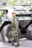 Γερμανικοί στρατιωτικοί εξοπλισμός και στρατιώτες στο γύρο ΙΙ Dragoon Στοκ Εικόνες