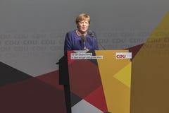 Γερμανικός καγκελάριος Angela merkel που μιλά στο siegen Γερμανία Στοκ Εικόνες
