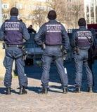 Γερμανικός ομοσπονδιακός αστυνομικός που προστατεύει την πόλη στοκ εικόνα